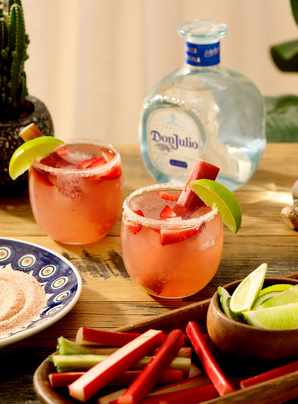 Rhubarb Margarita made with Don Julio Blanco