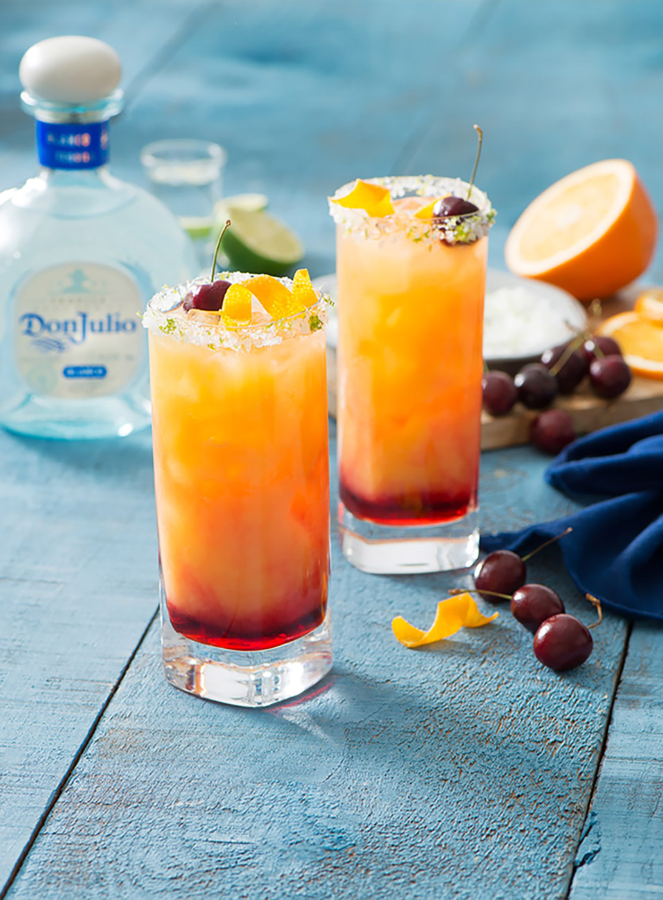 Tequila Sunrise drink made with Don Julio Blanco Tequila
